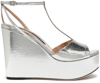 Sergio Rossi Metallic Cracked-leather Platform Sandals