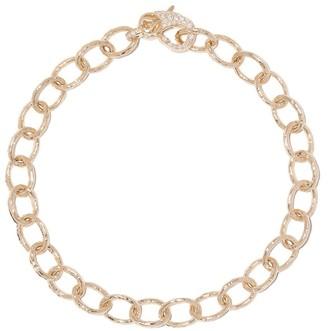 Loree Rodkin 14kt gold diamond medium Flinstone chain bracelet