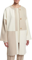 Shamask Long-Sleeve Button-Front Kimono Coat, Ivory/Tan