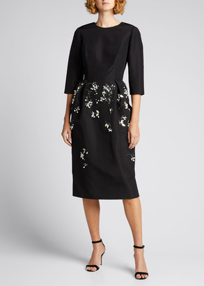 Carolina Herrera Floral Embellished 3/4 Sleeve Silk Midi Dress