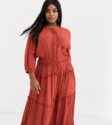 Simply Be tiered maxi dress in rust polka dot