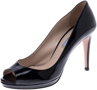 Prada Black Patent Leather Peep Toe Pumps Size 37
