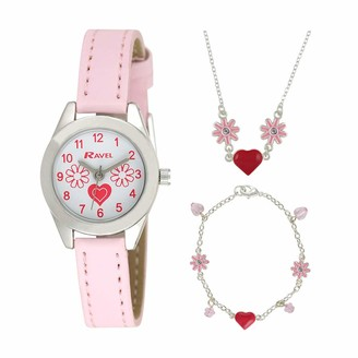 Ravel Children's 'Little Gems' Hearts and Flowers Watch and Silver Plated Jewellery Set