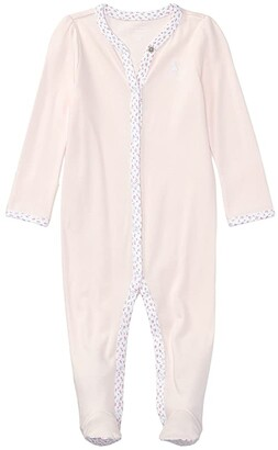 Polo Ralph Lauren Kids Floral-Trim Cotton Coverall (Infant) (Delicate Pink) Girl's Overalls One Piece