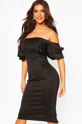 boohoo Ruffle Sleeve Off The Shoulder Scuba Midi Dress