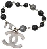 Chanel Silver Tone Metal & Beads Pearl Bracelet