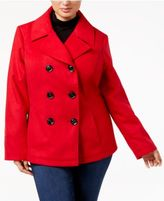 Celebrity Pink Trendy Plus Size Double-Breasted Peacoat