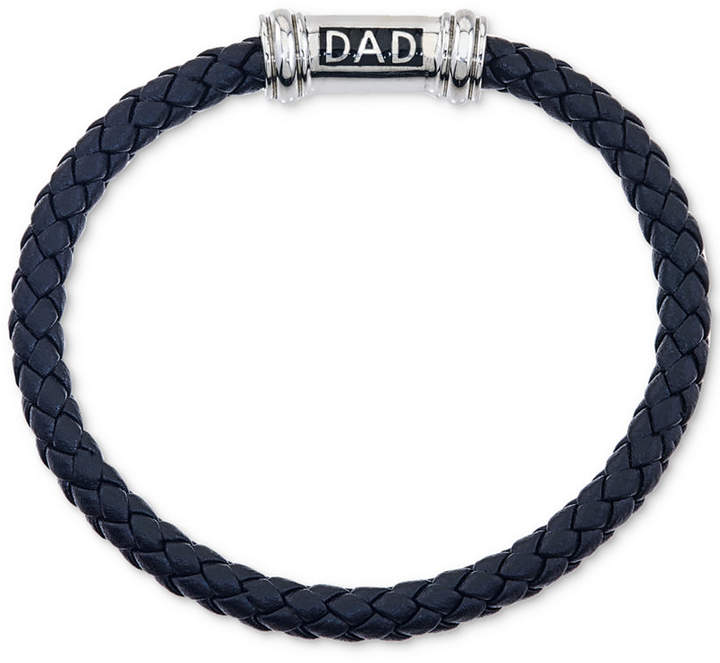 """Macy's Men's Black Sapphire Accent Leather """"Dad"""" Bracelet in Stainless Steel"""