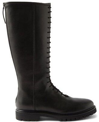 LEGRES Lace-up Knee-high Leather Boots - Black