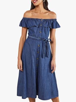 Yumi Denim Bardot Midi Dress, Blue
