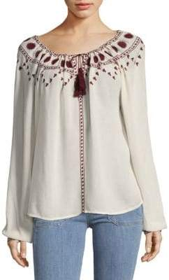 The Kooples Embroidered Drawstring Top