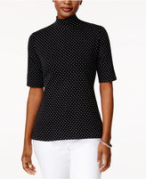 Karen Scott Petite Dot-Print Mock-Neck Top, Created for Macy's
