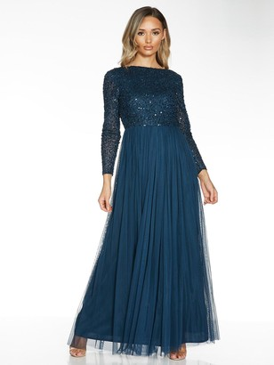 Quiz Hand Embellished Sequin Long Sleeve Tulle Bridesmaid Maxi Dress - Blue