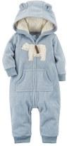 Carter's Baby Boy Polar Bear Applique Fleece Coverall