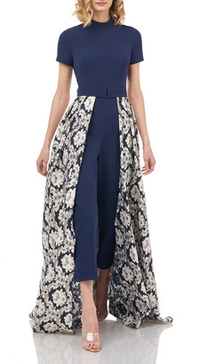 Kay Unger New York Donatella Stretch Crepe Belted Jumpsuit w/ Jacquard Overlay Skirt