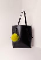 Missguided Contrast Pom Pom Classic Tote Bag Black
