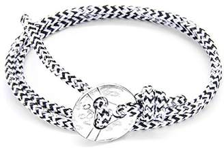 Camilla And Marc ANCHOR & CREW Unisex's White Noir Lerwick Silver and Rope Bracelet of Length 17 cm - 23 cm