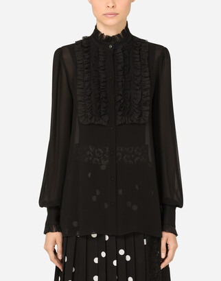 Dolce & Gabbana Silk Georgette Shirt With Lace Shirt Front