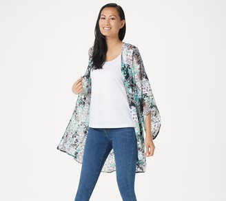 Susan Graver Printed Stretch Lace Drape Front Cardigan