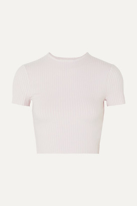 Calé cale - Esmee Cropped Ribbed Stretch-jersey T-shirt - Lavender