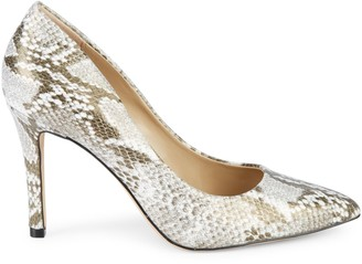 Saks Fifth Avenue Embossed Snakeskin-Print Leather Pumps