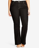 City Chic Trendy Plus Size Black Wash Bootcut Jeans