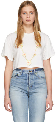 Alanui White Cashmere Embroidery T-Shirt