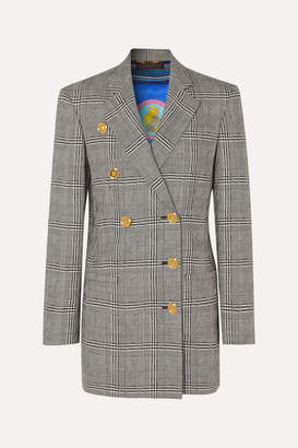 Versace Button-embellished Prince Of Wales Checked Wool Blazer - Gray