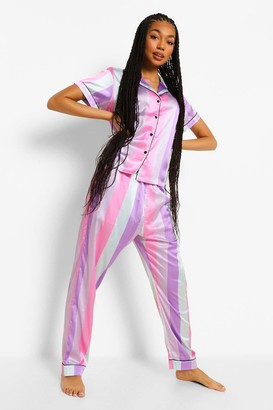 boohoo Sherbet Candy Stripe Satin PJ Trouser Set