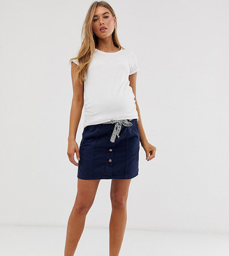 Mama Licious Mamalicious maternity button front twill mini skirt