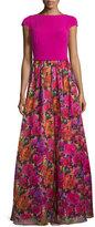 Theia Organza Floral-Printed Cap-Sleeve Gown, Fuchsia