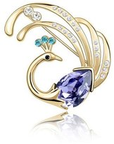 Miki&Co Golden Swarovski Elements Women's Crystal Phoenix Brooch, with a Gift Box