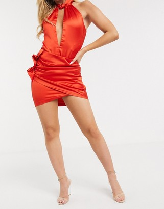 The Girlcode frill detail satin mini skirt two-piece in red