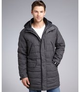Zegna Sport anthracite wool and down filled drawstring hooded coat