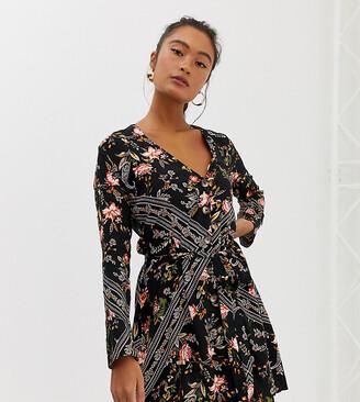 Miss Selfridge button through mini dress in scarf print