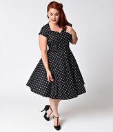 Unique Vintage Plus Size 1950s Style Black & White Polka Dot Cap Sleeve Swing Dress