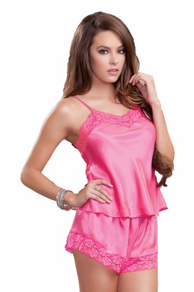 Icollection Lingerie iCollection Women's Satin and Lace Cami and Short Set