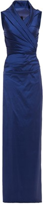 Talbot Runhof Wrap-effect Ruched Satin Gown