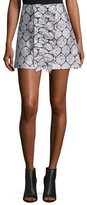 Suno Patterned Ruffle Mini Skirt, Blue/Silver