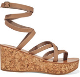 K Jacques St Tropez Tautavel Leather And Cork Wedge Sandals - Beige