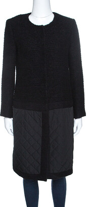 Giambattista Valli Black Textured Quilted Bottom Hem Coat M