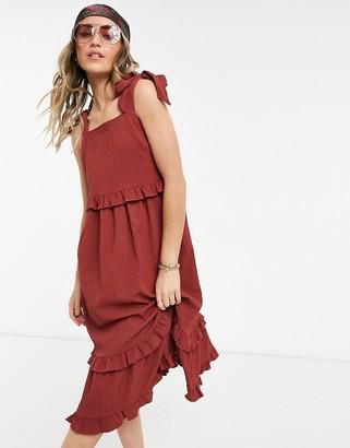 ASOS DESIGN textured ruffle swing midi sundress with tie straps in rust