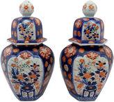 One Kings Lane Vintage Pair Large Antique Japanese Covered Urns