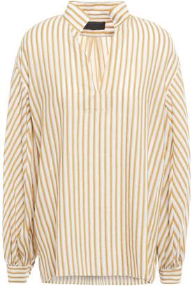Nili Lotan Striped Cotton And Linen-blend Top