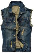 Hzcx Fashion Mens Sleeveless brushed Denim Vest broken holes Waistcoat -US LTAG 6XL