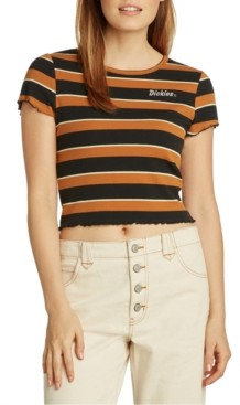 Dickies Juniors' Lettuce-Edge Striped Cropped T-Shirt