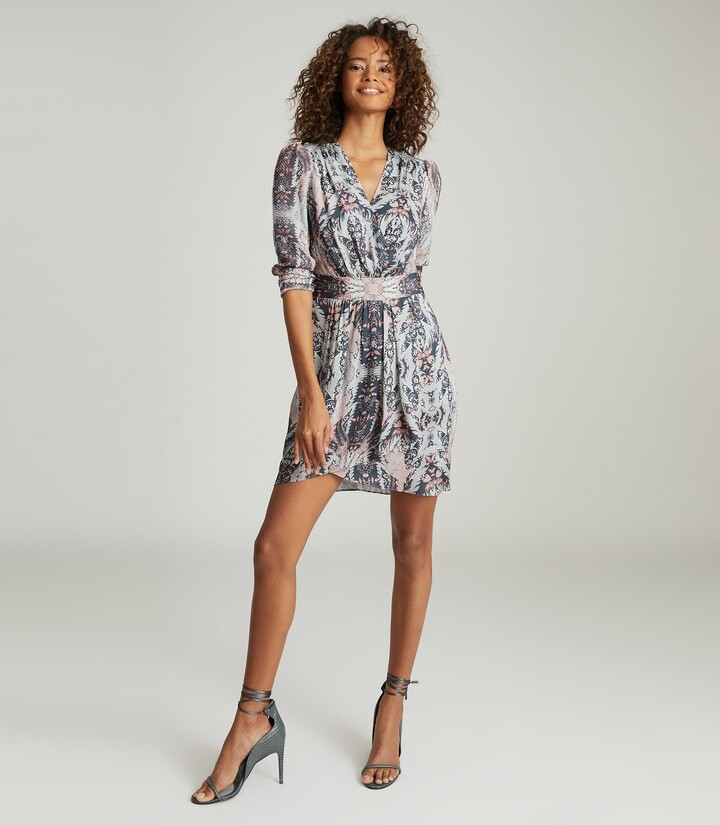 Thumbnail for your product : Reiss Lacey - Printed Midi Dress in Grey