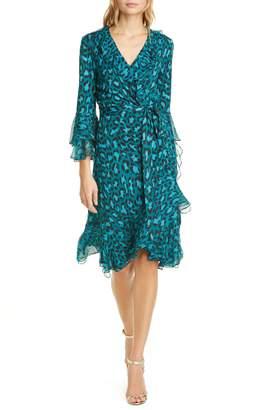 Diane von Furstenberg Carli Leopard Print Ruffle Silk Wrap Dress