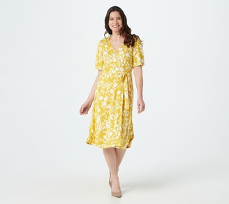 Isaac Mizrahi Live! Petite Bi-Color Floral Printed Knit Wrap Dress