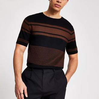 River Island Black stripe blocked slim fit knit T-shirt